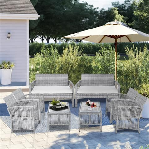 8-pcs Outdoor Furniture Rattan Chair & Table Patio Set Outdoor Sofa