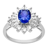 2 3/4 ct Oval Blue and White Sapphire Ring in Sterling Silver