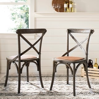 "Safavieh Country Classic Dining Franklin X-back Distressed Colonial Grey Oak Chairs (Set of 2) - 20.1"" x 21.3"" x 35"""