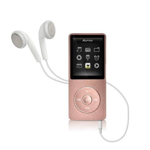 AGPTEK MP3 HIFI Lossless Music Player FM Radio 70 Hours Playback 8GB Rose Gold - Silver - M