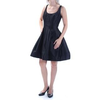 BETSY & ADAM Womens New 1490 Black Zippered Sleeveless A-Line Dress 6 B+B