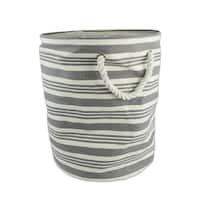 """20"""" Large Grey and White Striped Storage Bag"""
