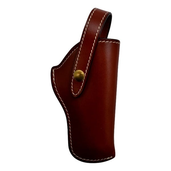 3D Western Pistol Case Revolver Holster Snap Leather Cognac