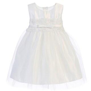 Sweet Kids Baby Girls White Satin Lace Bow Tulle Flower Girl Dress 6-24M