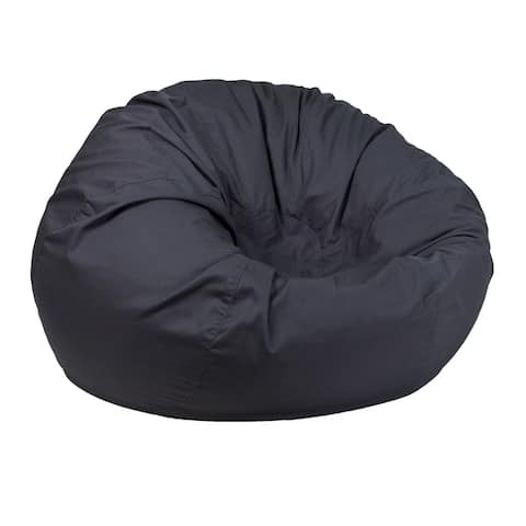 Offex Oversized Portable Cotton Upholstered Kids Bean Bag Chair - Solid Gray