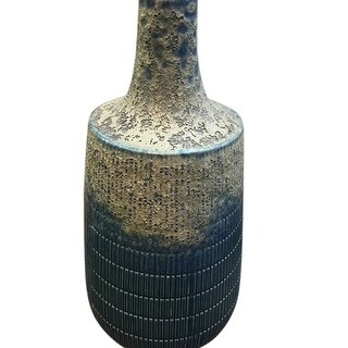 Splendid Ceramic Vase With Textured Body, Blue