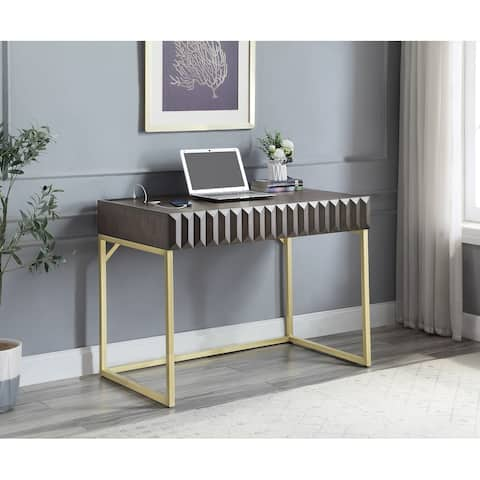 Furniture of America Bird Gold Frame 42-inch Desk with USBs & Outlets