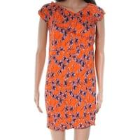 TopShop Orange Shirred Wrap Bodycon Women's Size 12 Sheath Dress