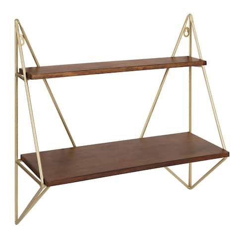 Kate and Laurel Melita Modern Two-Tier Floating Wall Shelf - 2 Shelves