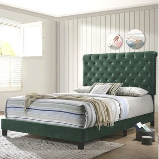 Link to Modern Elegant Crystal Button Tufted Design Green Velvet Upholstered Bed Similar Items in Bedroom Furniture