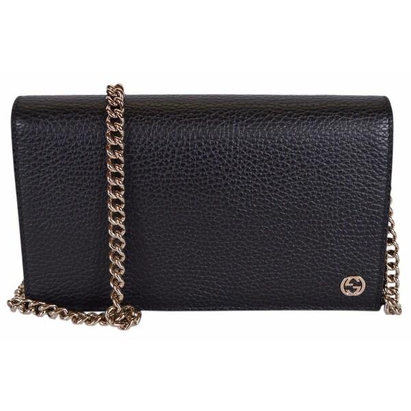 "Gucci 466506 Black Leather Interlocking GG Crossbody Wallet Bag Purse - 8"" x 4.5"" x 1.5"""