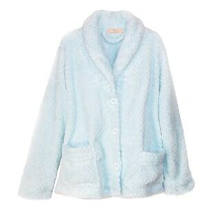 La Cera Women's Plus Size Button Front Bed Coat