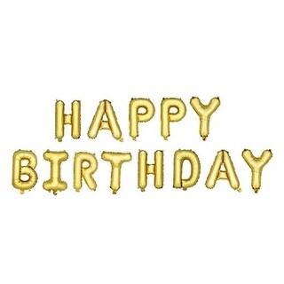 Cakewalk 6237 14 in. Gold Happy Birthday Mylar Balloon - Set of 13