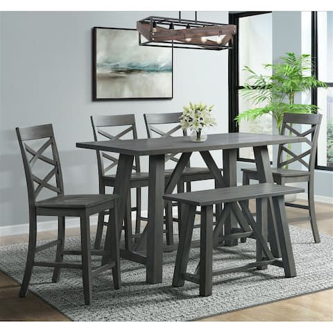 Picket House Furnishings Regan 6PC Counter Height Dining Set in Gray-Table, 4 Side Chairs & Bench