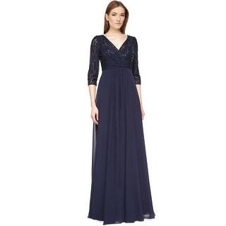 Teri Jon Three Quarter Sleeve Sequin Lace Evening Gown Dress - 12