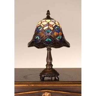 Meyda Tiffany 30317 Stained Glass / Tiffany Accent Table Lamp from the Peacock Feather Collection - n/a