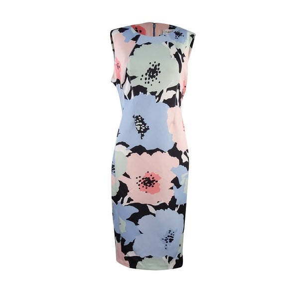 19ad22691dd1b Calvin Klein Women  x27 s Sleeveless Floral Scuba Sheath Dress - serene  multi