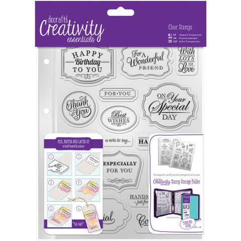 Creativity Essentials A5 Clear Stamp Set 18/Pkg-Trad Sentiment