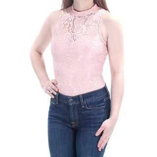 Womens Pink Sleeveless Turtle Neck Casual Body Suit Top Size XS