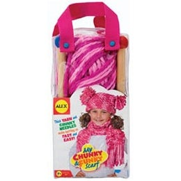 My Chunky Funky Scarf Knitting Kit Pink Kids Learn Crafts Hat Yarn Wood Needles
