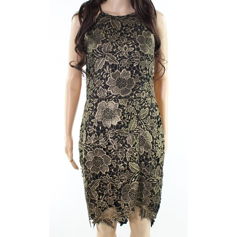 Adelyn Rae Gold Black Womens Size Small S Floral-Lace Sheath Dress