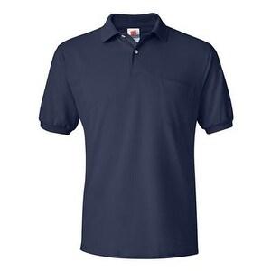 Hanes Ecosmart Jersey Sport Shirt with a Pocket - Navy - L
