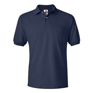 Hanes Ecosmart Jersey Sport Shirt with a Pocket - Navy - L