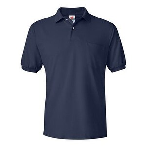 Hanes Ecosmart Jersey Sport Shirt with a Pocket - Navy - S