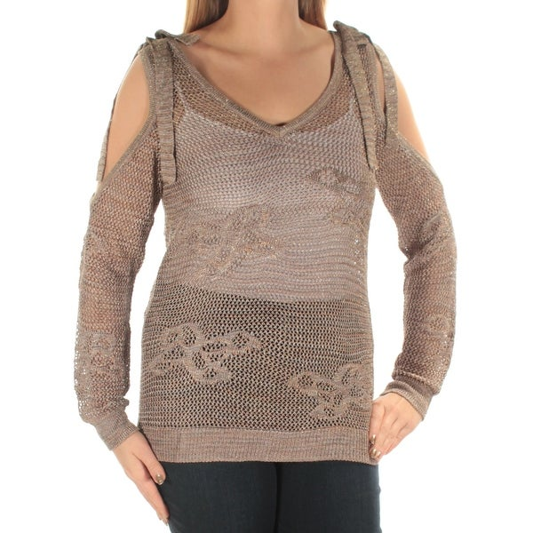 f73f9a103c Shop INC Womens Gold Cut Out Metallic Long Sleeve V Neck Top Size  L - Free  Shipping On Orders Over  45 - Overstock - 21239567
