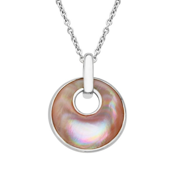 Kabana Pink Natural Mother-of-Pearl Inlay Pendant in Sterling Silver