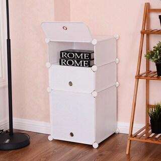 Costway 3 Cubic Bookcase Storage Cabinet Shelf Clothes Closet Organizer Home Furni - White