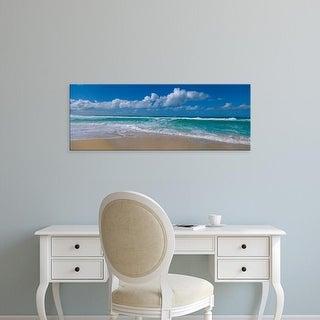 Easy Art Prints Panoramic Images's 'Waves crashing on the beach, Sunset Beach, Oahu, Hawaii, USA' Premium Canvas Art