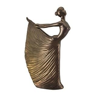 Lustrous Copper Finish Elegant Dancing Woman Ceramic Figure