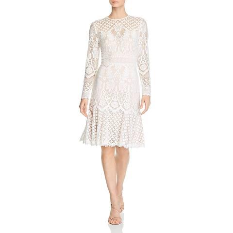 Tadashi Shoji Womens Cocktail Dress Lace Overlay Long Sleeve - White