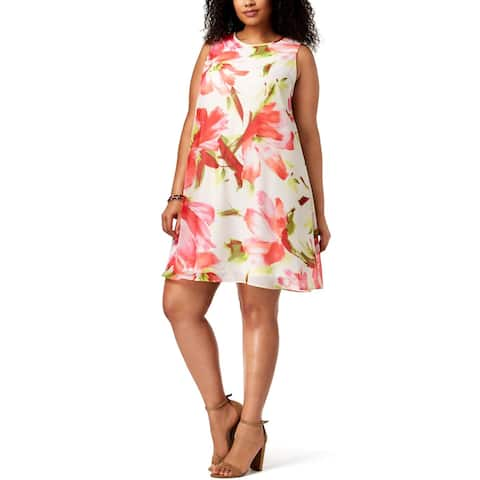 Jessica Howard Womens Plus Party Dress Sleeveless Floral