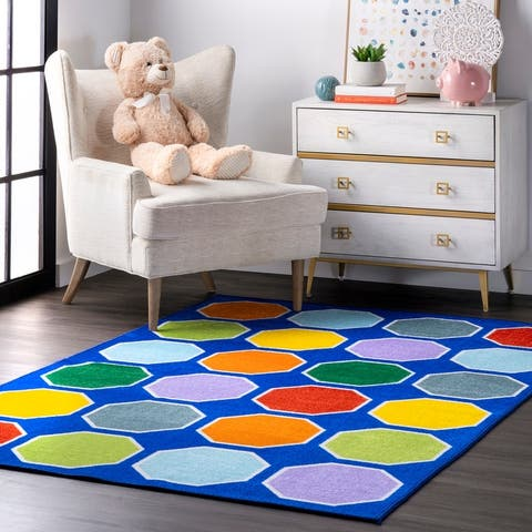 nuLOOM Blue Playtime Geometric Octagons Educational Kids Area Rug