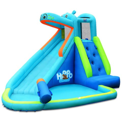Kids Hippo Inflatable Bounce House with Bag