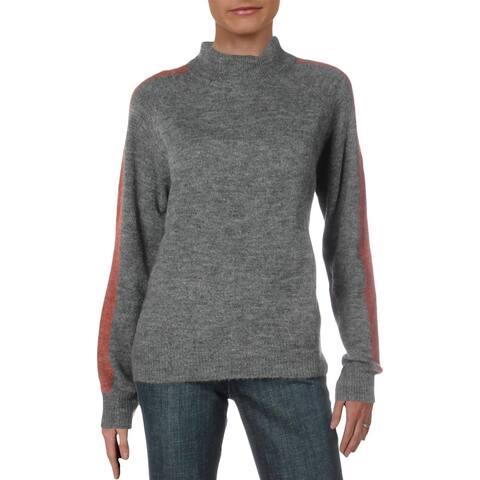 Vero Moda Womens Pullover Sweater Mock Neck Stripe - Medium Grey - L