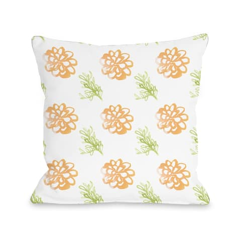 Frieda Floral Orange - Throw Pillow by June Erica Vess