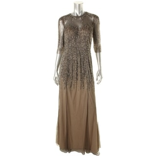 Adrianna Papell Womens Mesh Sequined Evening Dress - 6