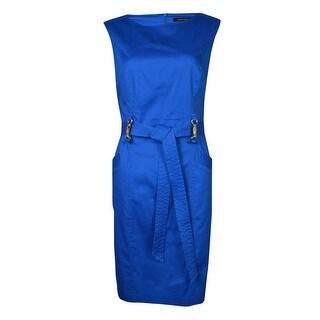 Ellen Tracy Women's Seam Pocket Belted Cotton Sheath Dress - 2