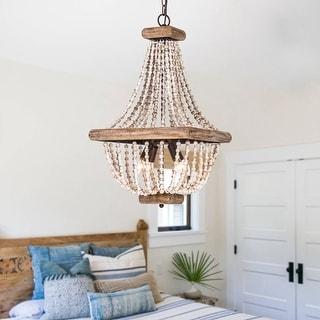 Farmhouse Beaded Basket Weathered Wood 4-Light Chandelier
