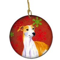 Whippet Red Snowflake Holiday Christmas Ceramic Ornament