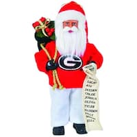 "9"" NCAA Georgia Bulldogs Santa Claus with Good List Christmas Ornament - RED"