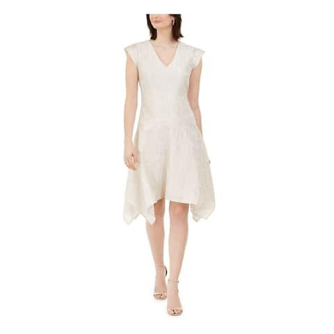 NATORI Ivory Cap Sleeve Knee Length Dress 10