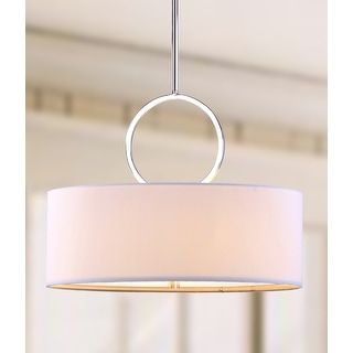 "Link to Safavieh Lighting Debonair Adjustable 3-Light Chrome Drum Pendant Lamp - 18""x18""x16.75 - 52.75"" - 18""x18""x16.75 - 52.75"" Similar Items in Pendant Lights"