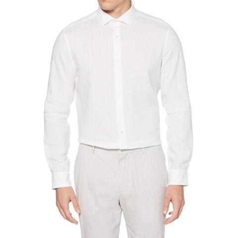 Perry Ellis Mens Dress Shirt White Size 2XL Linen Blend Solid Stretch