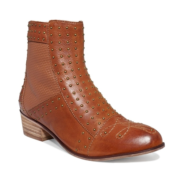 kensie Womens AUDRINA Leather Cap Toe Ankle Fashion Boots, COGNAC, Size 6.0