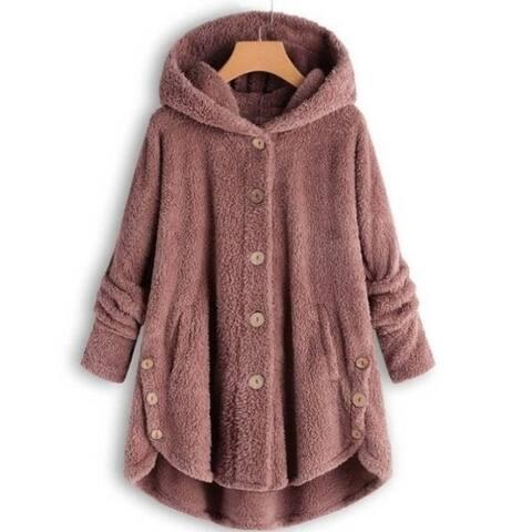 Cozy Hooded Sherpa Hem Button Sweater