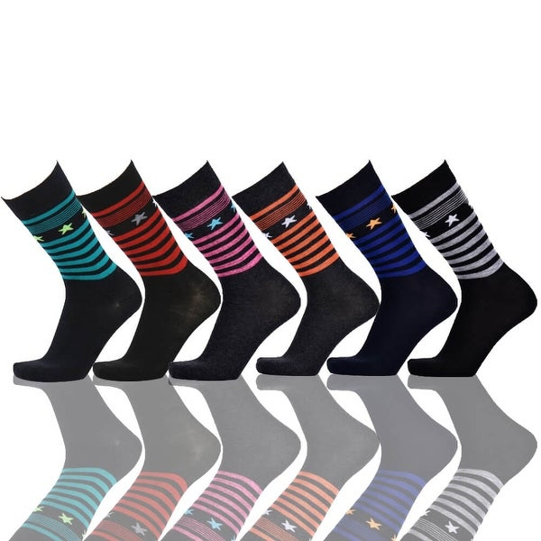 Stars & Stripes Men's Dress Socks Cotton Blend Colorful (Size 10-13) 6 Assorted Pairs